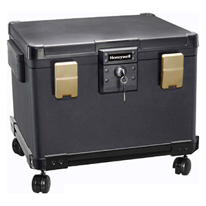 Waterproof 1 Hour Fire Safe Chest on Wheeled Cart for Digital Media & Letter-Sized, A4 and Legal Hanging File Folders